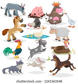 Cute farm animals set. Collection of cartoon vector drawings in flat style. Donkey, goat, horse, sheep, pig, cow, turkey, duck, rooster and hen, goose, dog, cat, rabbit. Various poses.