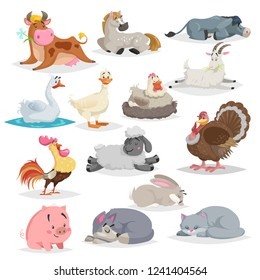 Cute farm animals set. Collection of cartoon vector drawings in flat style. Donkey, goat, horse, sheep, pig, cow, turkey, duck, rooster and hen, goose, dog, cat, rabbit. Various poses. Sleeping animal