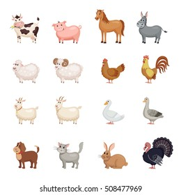 Cute Farm animals set in flat style isolated on white background. Vector illustration. Cartoon farm animals.