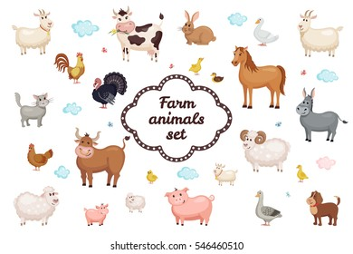 Cute Farm animals set in flat style isolated on white background. Vector illustration. Cartoon  animals collection.