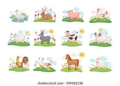 Cute Farm animals set. Illustration with cartoon animals on green meadow. Vector illustration.