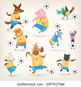 Cute farm animals team playing soccer on different positions. Funny vector pets characters illustrations. Sport is for everyone.  Isolated images. First team