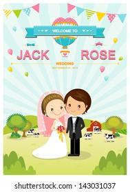 Cute farm barn and cow wedding invitation card template vector/illustration