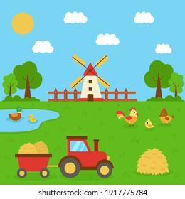 Cute farm scene in summertime. Tractor in the field. Domestic birds in farm landscape.