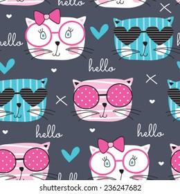 cute fashion cat pattern vector illustration