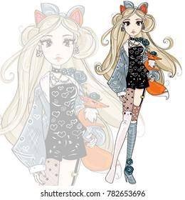 Cute fashion foxy girl cartoon character with little fox, hand drawn vector illustration art