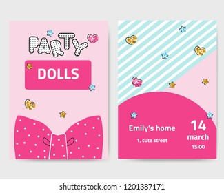 Cute fashion girls party invitation with glitter elements. Vector hand drawn illustration.