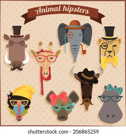 Cute fashion Hipster African Animals set 2 of vector icons