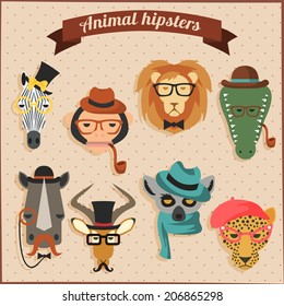 Cute fashion Hipster  African Animals set 1 of vector icons