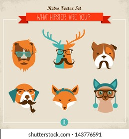 Cute fashion Hipster Animals & pets, set of vector icons