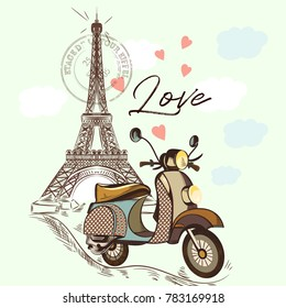 Cute fashion illustration with Eifel tower and bike