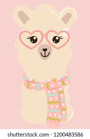 cute fashion lama vector winter style  winter is coming. drawing poster.glasses  and scarf