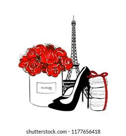 Cute fashion patch badges set: Eiffel tower, box flower, macaroons with bow, black shoes, macaron cakes. Paris romantic design. Vector trendy illustration. Beauty fashion woman set.