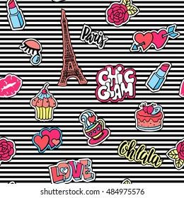 Cute fashion seamless pattern with patch badges.Lips, hearts, Eiffel tower,flower, cake, eye, lipstick. Paris romantic design.