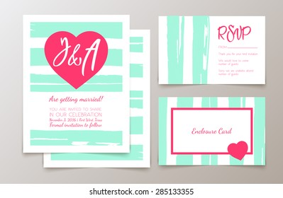 Cute fashionable cards and invitations. Trendy abstract backgrounds.  Wedding day, anniversary, birthday, Valentine's day, party invitations, invite or save the date.