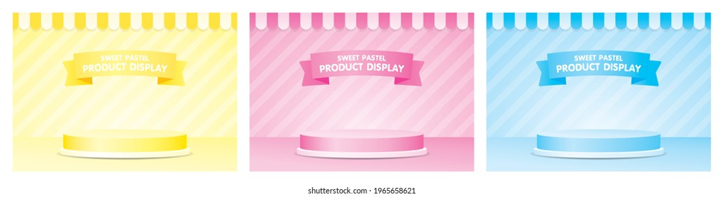Cute fashionable product display podium with awning and striped wall 3d illustration vetor set in girly pastel color theme consists of yellow pink and blue.