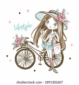 Cute fashionista teenage girl in a hat with a Bicycle. My life. Vector.