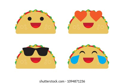 cute fast food vector character set isolated on white, group of taco with different grimaces, smiles and emotions