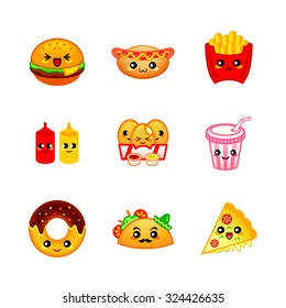 Cute fast-food icons or stickers