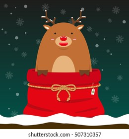 cute fat big reindeer come out of christmas bag on falling snow flake green background