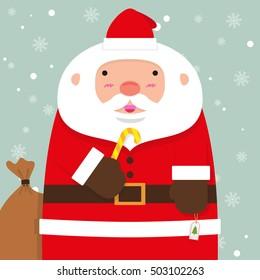cute fat big Santa Claus on falling snow flake blue background