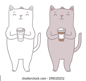 Cute fat cat holding coffee cup. Adorable animal vector clip art.