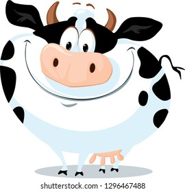 The Cute Fat Cow Farm Animal Vector Cartoon Illustration