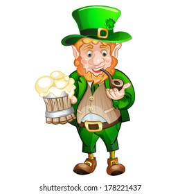 Cute fat Leprechaun with a pot of ale foam.  St. Patrick's Day
