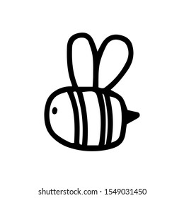 Cute fat little bee in doodle style. Logo symbol vector outline design illustration isolated on white background. Print for coloring book, t shirt, cup, child clothes. Black cartoon honey insect.