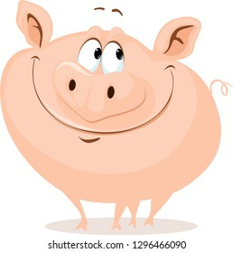 The Cute Fat Pig Smiling Vector Cartoon Illustration