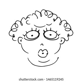 Cute fat woman. Hand-drawn outline black and white vector face isolated on white background.