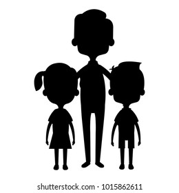 cute father with kids silhouette avatars characters