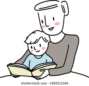 Cute father reading bedtime story with little boy. Man reading a storybook to his son. Little boy reading a storybook together with dad. Man spending happy family time with his little child.