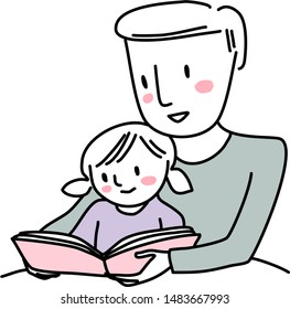 Cute father reading bedtime story with little girl. Man reading a storybook to his daughter. Little girl reading a storybook together with dad. Man spending happy family time with his little child.