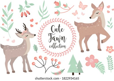 Cute fawn character set of objects. Collection of design elements with little deer, plants, flowers. Kids baby clip art funny smiling forest animal. Vector illustration