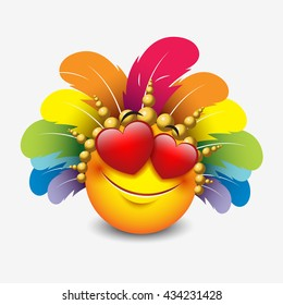 Cute feeling in love emoticon with carnival headdress isolated on white background - vector illustration