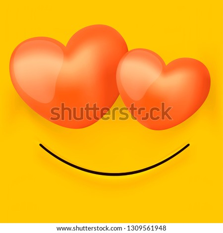 Cute Feeling Love Emoticon Isolated On Stock Vector (Royalty