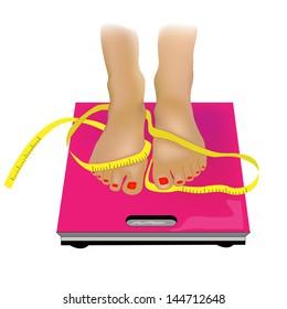 Cute Feet on Scales.Vector Illustration