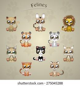 Cute felines collection vector illustration art