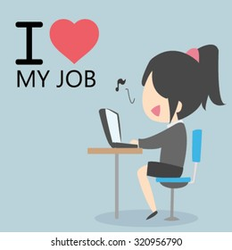 Cute Female businessman use laptop for working while singing with happy face, I love my job concept.