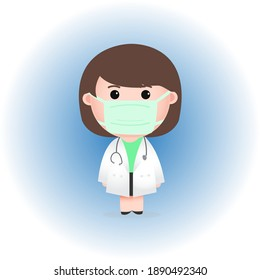 Cute Female Doctor Wearing Protection Mask Illustration Vector