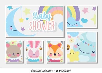 cute female fox rabbit and bear rainbow clouds baby shower card vector illustration