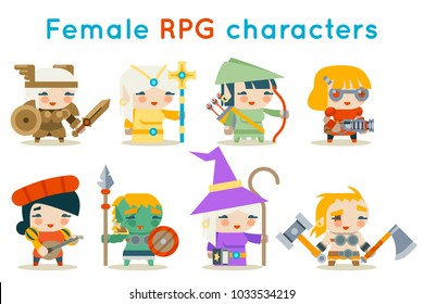 Cute female RPG characters fantasy isolated game icons set flat design vector illustration