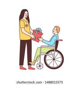 Cute female volunteer giving gift to disabled person in wheelchair isolated on white background. Voluntary social aid, volunteering, altruistic activity. Colorful vector illustration in linear style.