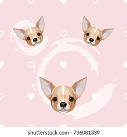 Cute feminine seamless pattern with Chihuahua dog and little hearts
