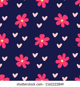 Cute feminine seamless pattern with flowers and hearts. Repeated girly print. Bright vector illustration.