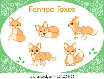 Cute fennec Cartoon set.. Fox big ear species.