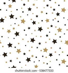 Cute festive background with gold falling stars. Holiday seamless pattern. Ornament for gift wrapping paper, fabric, clothes, textile, surface textures, scrapbook. Christmas star. Vector illustration.