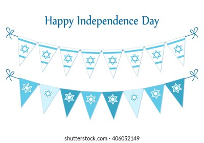 Cute festive bunting flags with traditional Jewish star for Israel Independence Day. Can be used as flyer, poster, banner or card