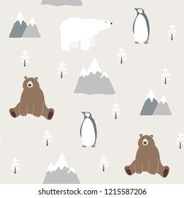 Cute festive Christmas seamless pattern with bear, polar bear, penguin, fir trees and mountains. Hand drawn kids nordic design. Winter vector illustration background.